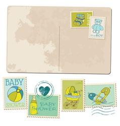 Vintage Baby Boy Arrival Postcard vector image