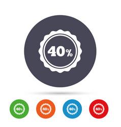 40 percent discount sign icon sale symbol vector image