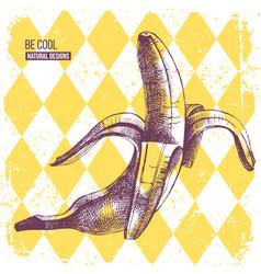 hand drawn banana on yellow rhombus background vector image