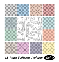 13 retro patterns textures set 9 vector