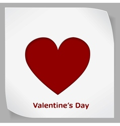 Valentines day paper sticker with red heart vector