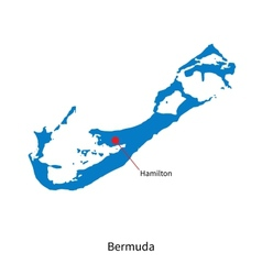 Detailed map of bermuda and capital city hamilton vector