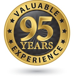 95 years valuable experience gold label vector