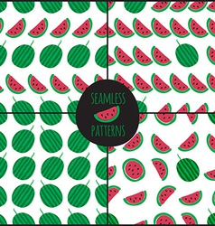 Set of 4 watermelon slice seamless pattern vector