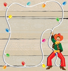 Cowboy christmas lasso invitation vector
