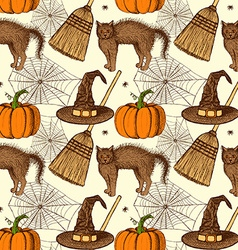 Sketch halloween pattern vector