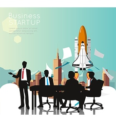 Business meeting with space shuttle vector