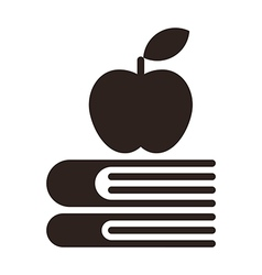 Apple on a books - education symbol vector