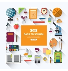 Back to school flat background vector image
