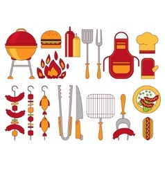 Barbecue grill icons vector