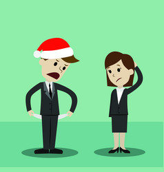 Businessman in christmas hat and businesswomen vector
