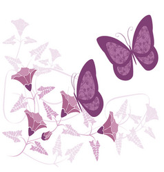 butterflies and flowers 21 vector image vector image