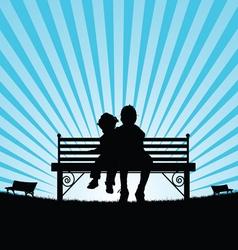 Children sitting on bench silhouette vector
