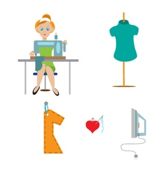 couture seamstress at the machine vector image vector image