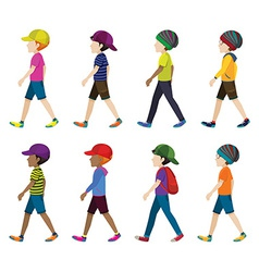 Faceless boys with headgears vector image vector image