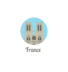 France notre dame landmark round icon vector image vector image