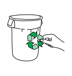hand holding green recycle sign on trash can vector image vector image