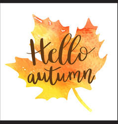 hello autumn hand lettering phrase on orange vector image vector image