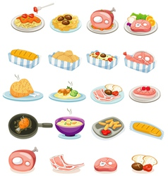 isolated set food vector image vector image