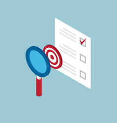 Magnifying glass finding target and check list vector