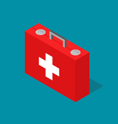 Medical case first aid kit isometric view vector