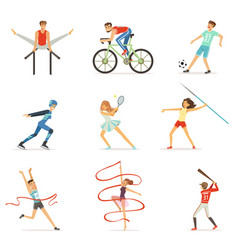 men and women doing various kinds of sports sport vector image vector image