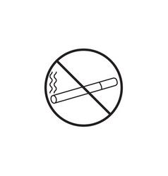 no smoking line icon prohibited sign vector image