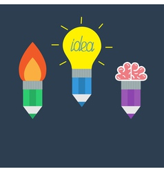 Pencil set with yellow light bulb lamp rocket fire vector
