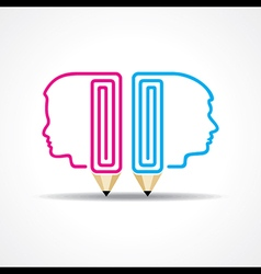 pencil with human head stock vector image