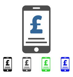 Pound mobile payment flat icon vector