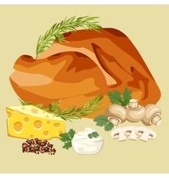 Roast chicken grilled vector