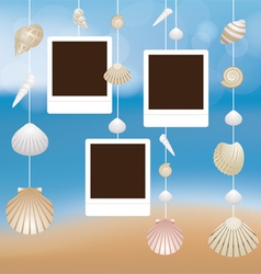 Sea shell and frame hanging mobile blur background vector