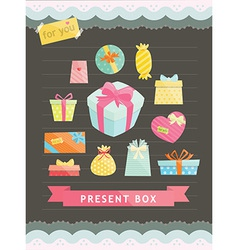 Set of Gift Box vector image vector image