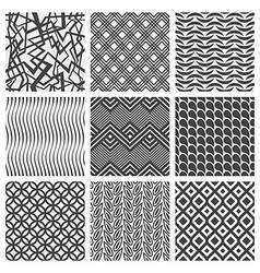 Set of nine geometrical patterns vector