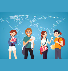 set of students with books on world map background vector image vector image