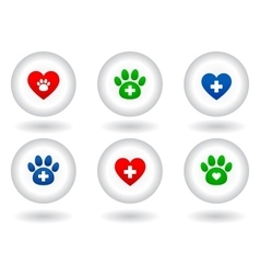 Set of veterinary icons on white button vector