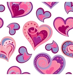 Valentines day artistic hand drawn colorful hearts vector