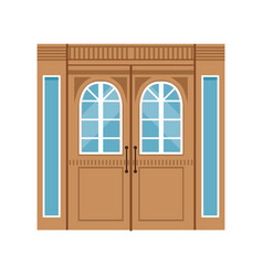 vintage double wooden doors closed elegant front vector image