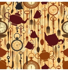 Vintage seamless tea time pattern vector image vector image