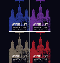 wine list for tasting with bottles and corkscrew vector image
