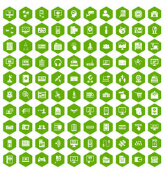 100 database icons hexagon green vector