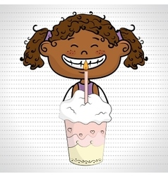 Girl cup cake candle vector