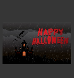Halloween pumpkins and dark castle the night rain vector