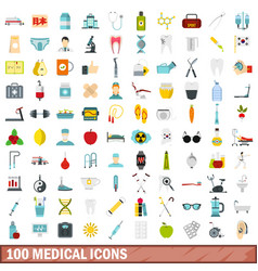 100 medical icons set flat style vector image