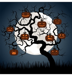 Gnarled tree at night with halloween pumpkins vector