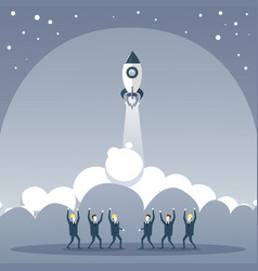Business people group looking at launching space vector