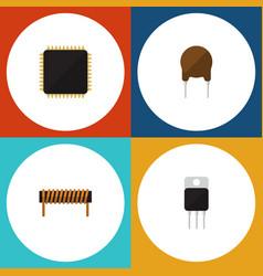 Flat icon electronics set of cpu receiver bobbin vector