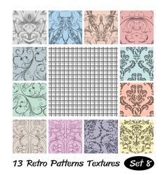 13 retro patterns textures set 8 vector