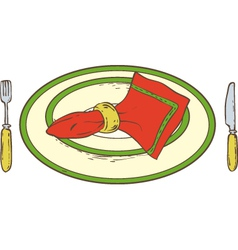 Plate with napkin vector