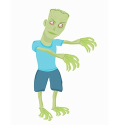 Cartoon zombie isolated on white vector